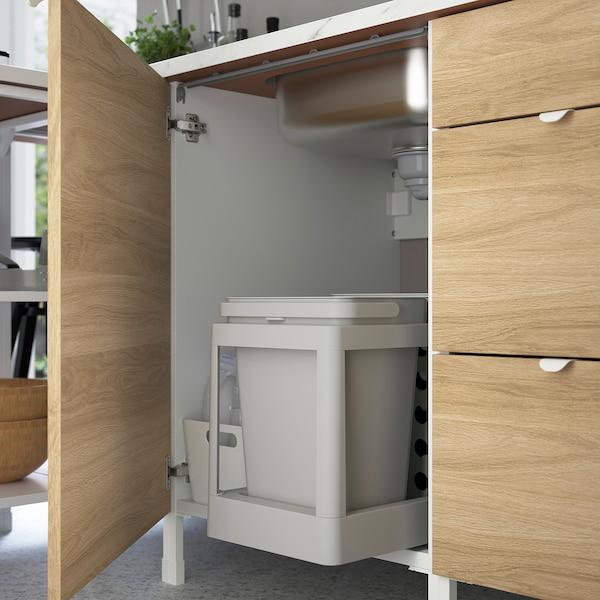 ENHET خزانة قاعدة لحوض/باب, أبيض/شكل السنديان, 60x62x75 سم