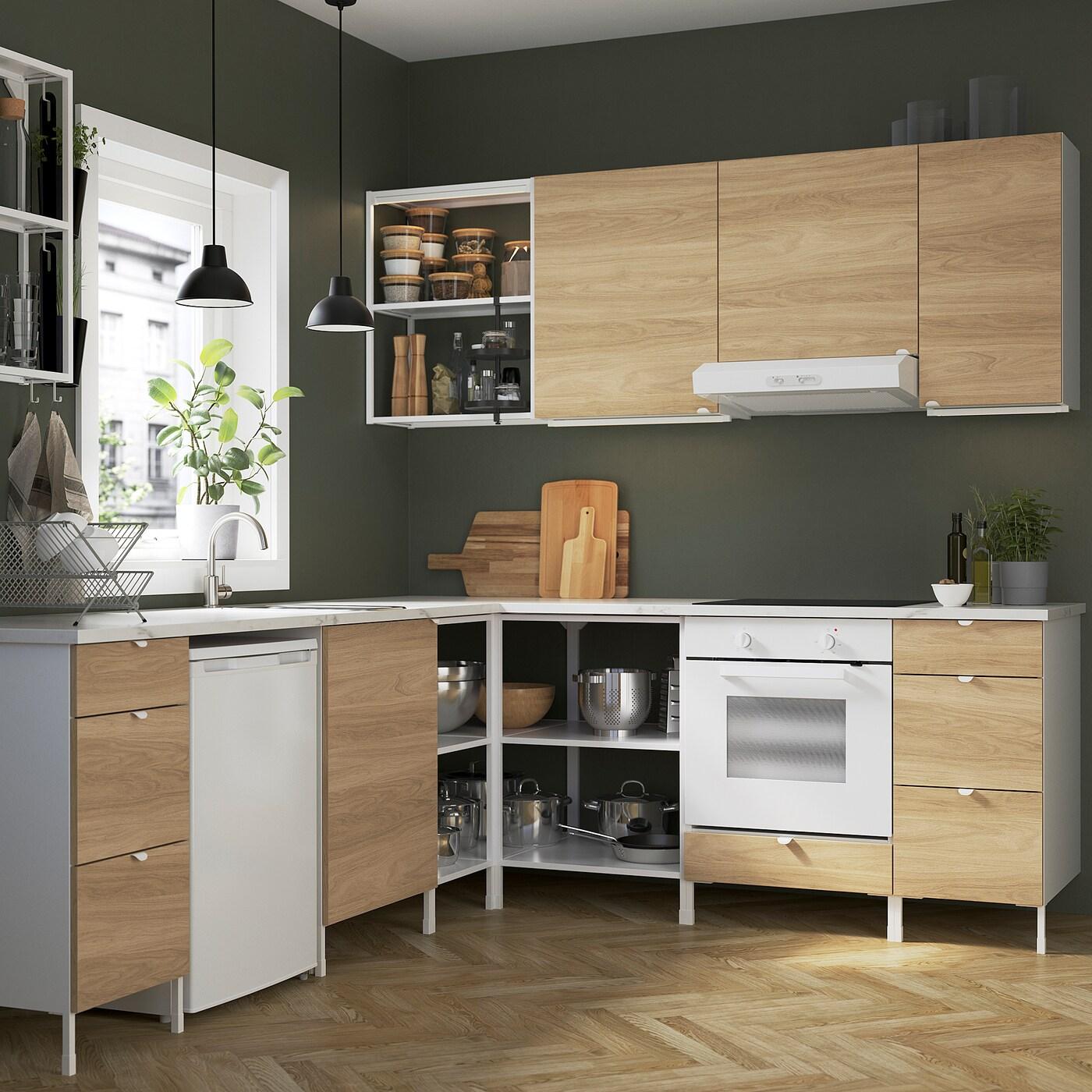 ENHET مطبخ زاوية, أبيض/شكل السنديان