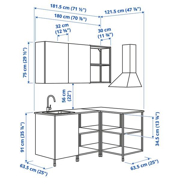 ENHET Corner kitchen, white/oak effect