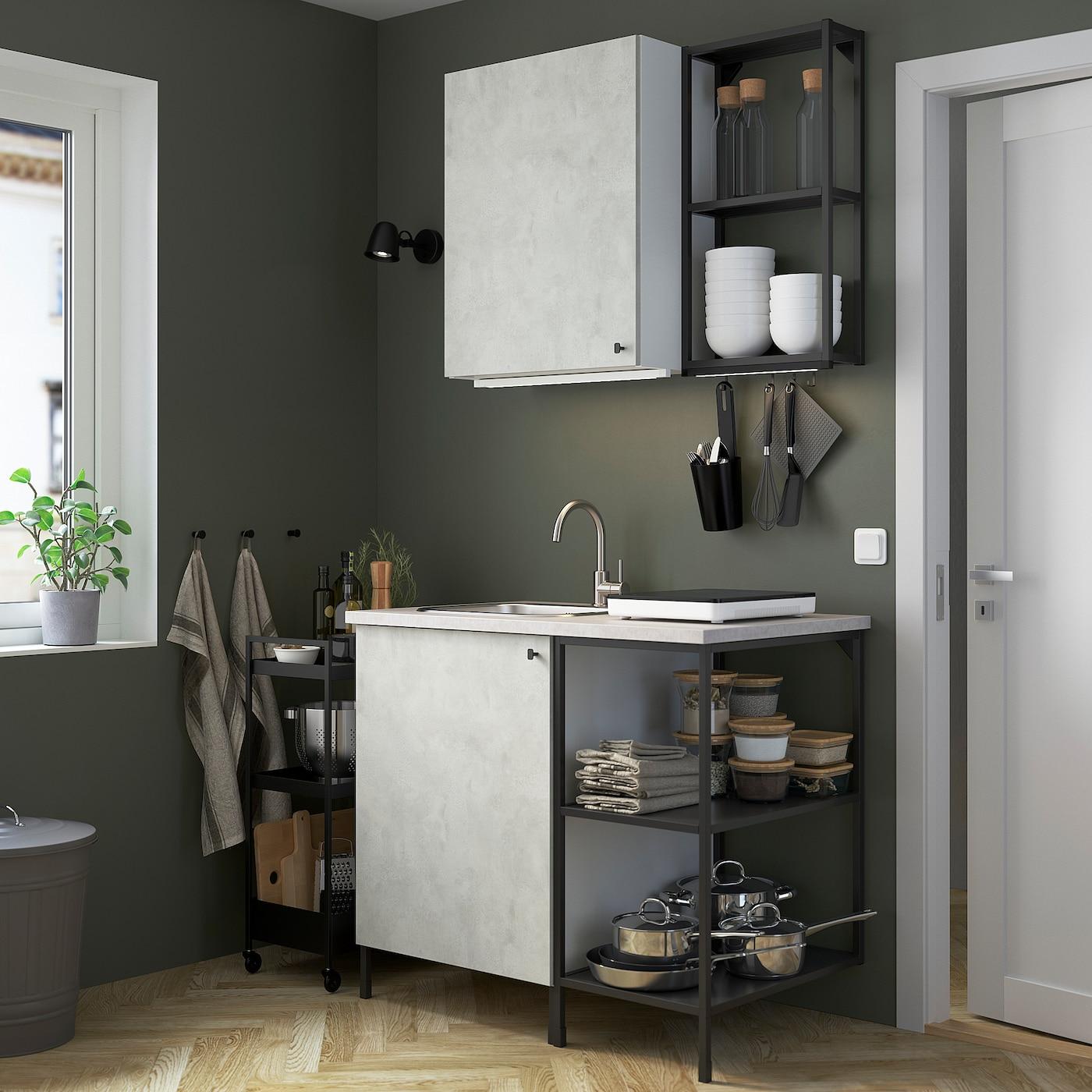 ENHET Kitchen, anthracite/concrete effect, 103x63.5x222 cm