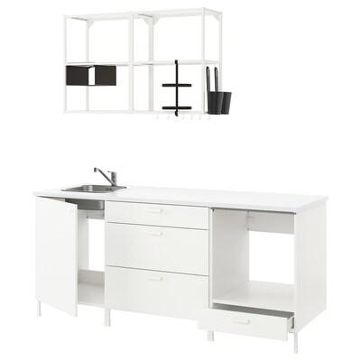 ENHET Kitchen, white, 203x63.5x222 cm