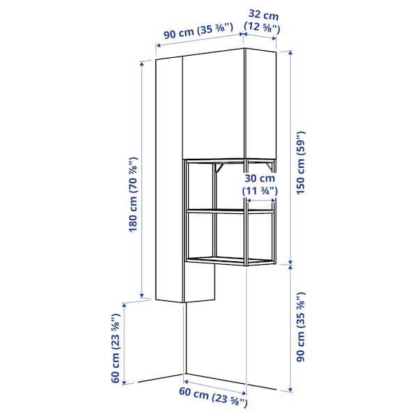 ENHET تشكيلة تخزين للغسيل, أبيض/رمادي هيكل, 90x32x180 سم