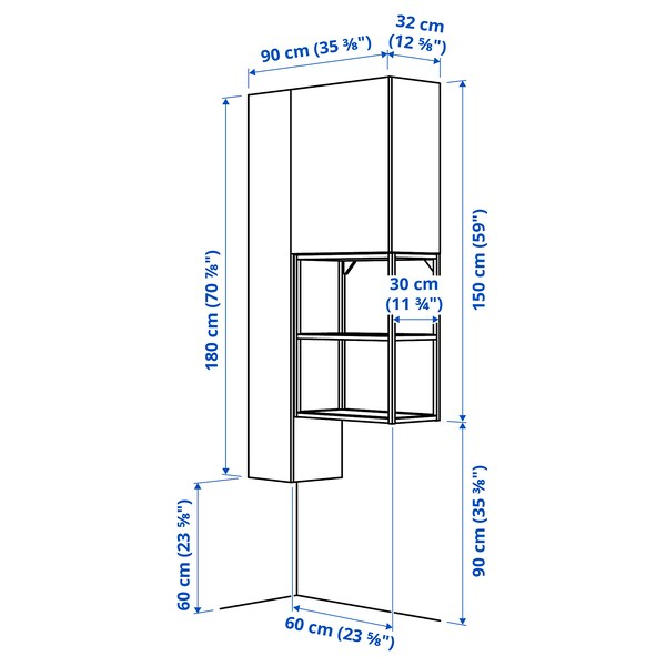 ENHET تشكيلة تخزين للغسيل, أبيض, 90x32x180 سم