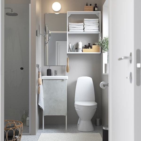 ENHET / TVÄLLEN Bathroom furniture, set of 10, concrete effect/white Pilkån tap, 44x43x87 cm