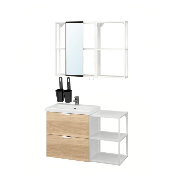 ENHET / TVÄLLEN Bathroom furniture, set of 15, oak effect/white Ensen tap, 102x43x65 cm