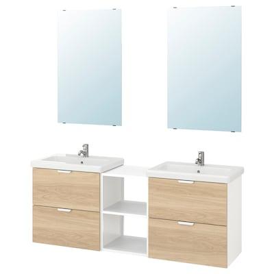 ENHET / TVÄLLEN أثاث حمام، طقم من 15, شكل السنديان/أبيض حنفية Pilkån, 164x43x65 سم