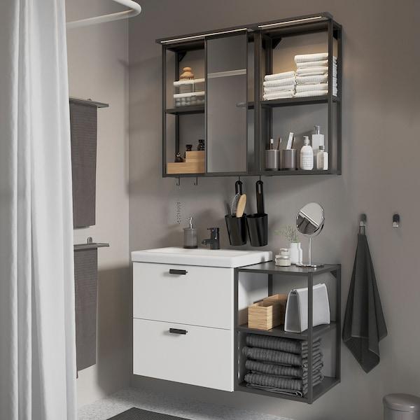 ENHET / TVÄLLEN Bathroom furniture, set of 15, white/anthracite Saljen tap, 102x43x65 cm