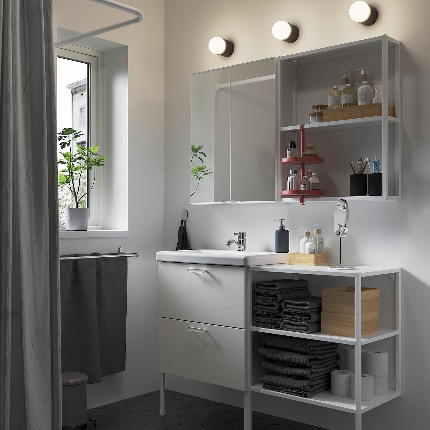 ENHET / TVÄLLEN Bathroom furniture, set of 15, white/Pilkån tap, 122x43x87 cm