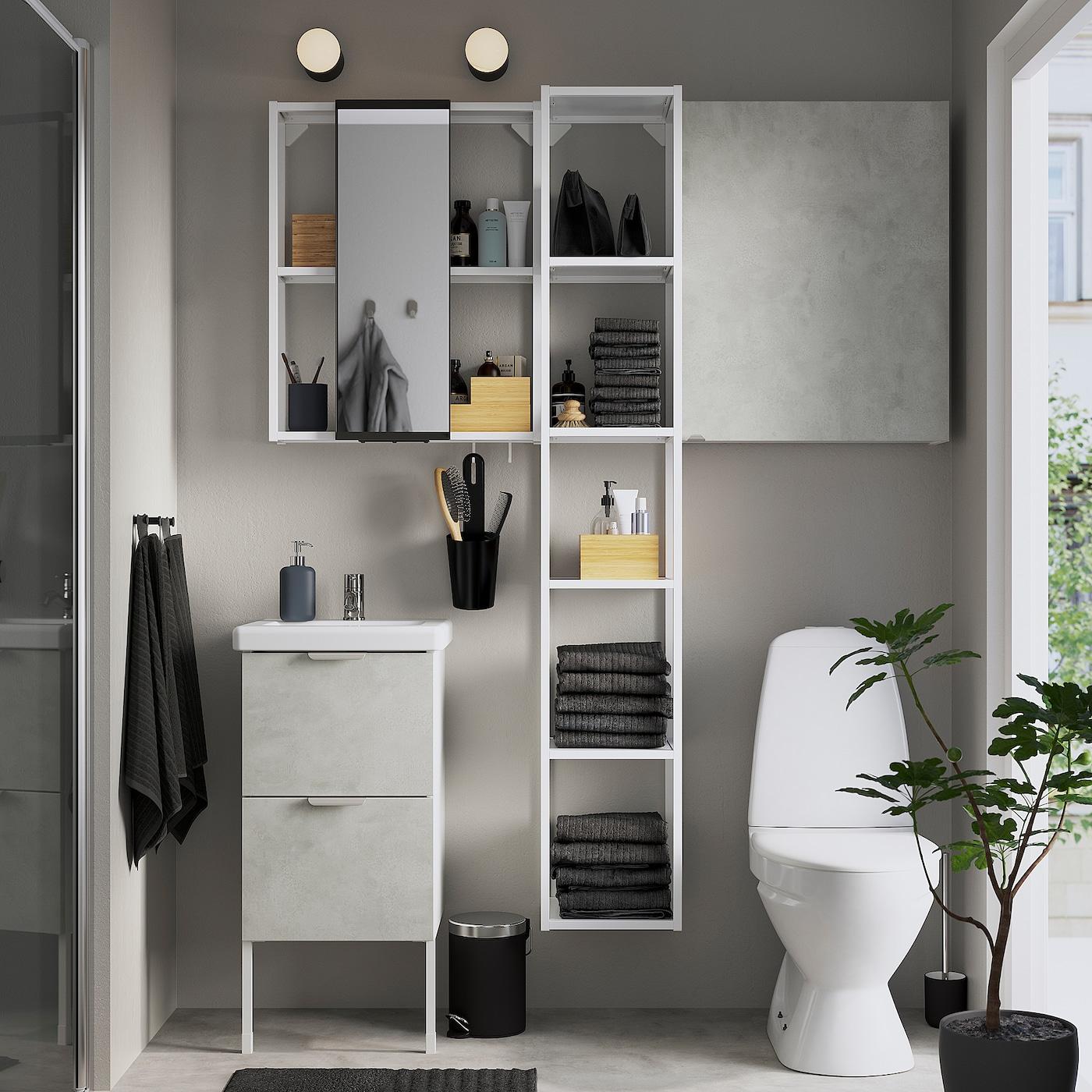 ENHET / TVÄLLEN أثاث حمام، طقم من 16, تأثيرات ماديّة./أبيض حنفية Pilkån, 44x43x87 سم