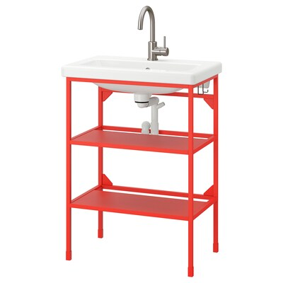 ENHET / TVÄLLEN Open wash-stand with 2 shelves, red-orange/Glypen tap, 64x43x87 cm