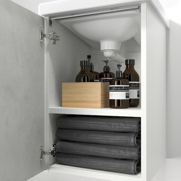 ENHET / TVÄLLEN Wash-basin cabinet with 1 door, concrete effect/white Pilkån tap, 44x43x65 cm