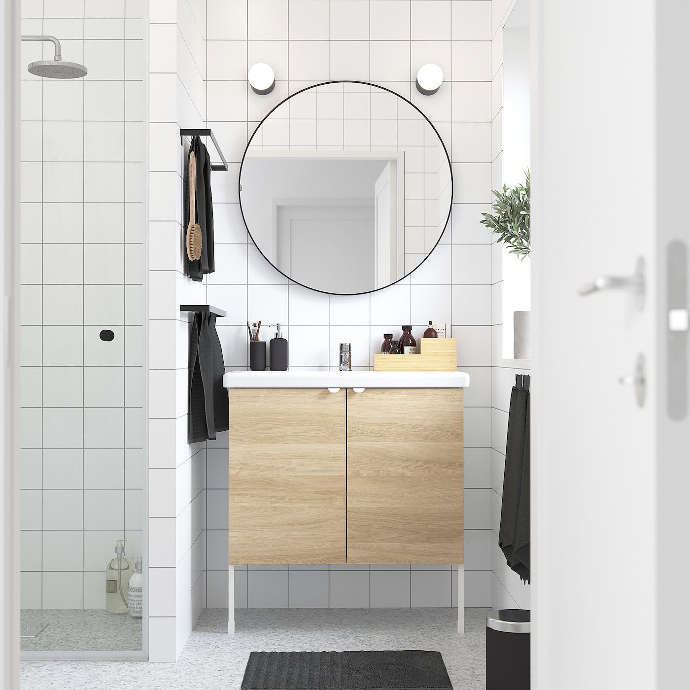 ENHET / TVÄLLEN Wash-basin cabinet with 2 doors, oak effect/white Pilkån tap, 84x43x87 cm