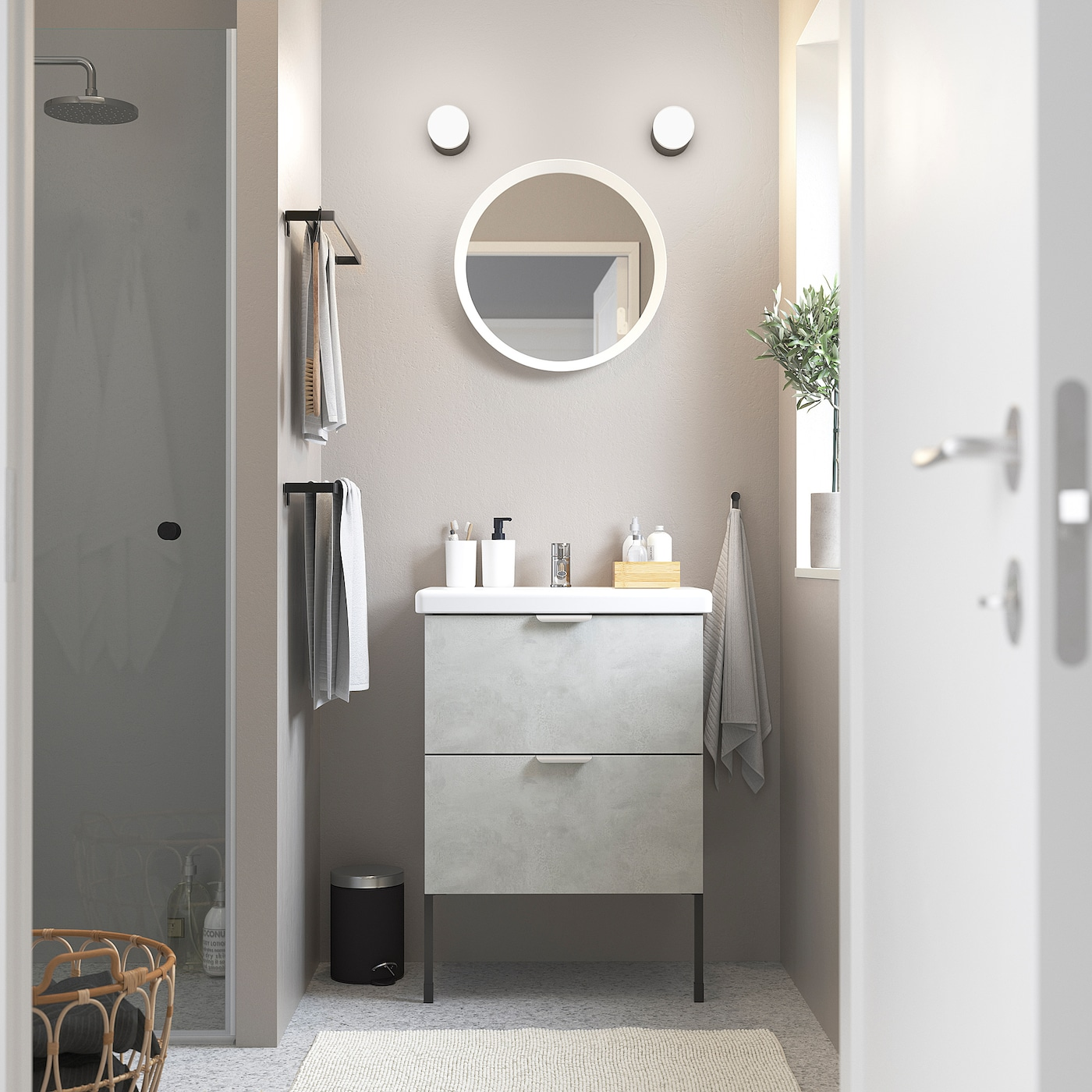 ENHET / TVÄLLEN Wash-stand with 2 drawers, concrete effect/grey Pilkån tap, 64x43x87 cm