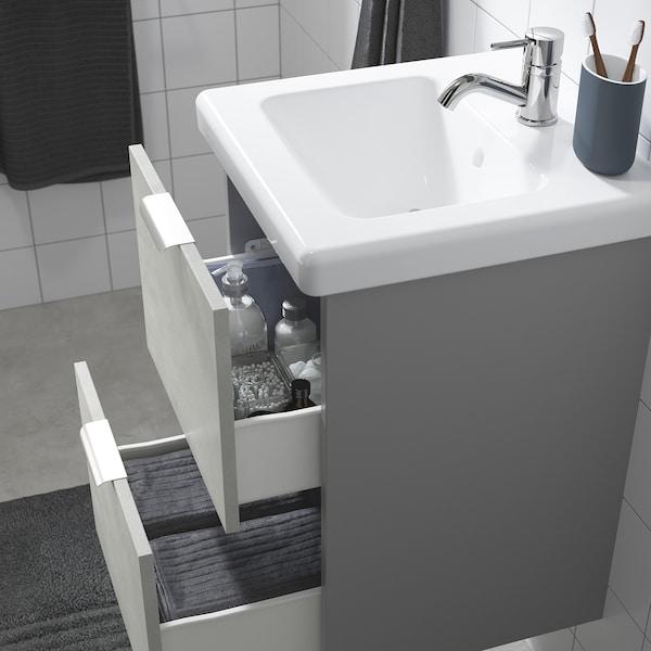 ENHET / TVÄLLEN Wash-stand with 2 drawers, concrete effect/grey Pilkån tap, 44x43x65 cm