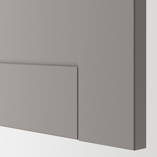 ENHET خزانة حائط مع رفين/بابين, رمادي/رمادي هيكل, 80x17x75 سم