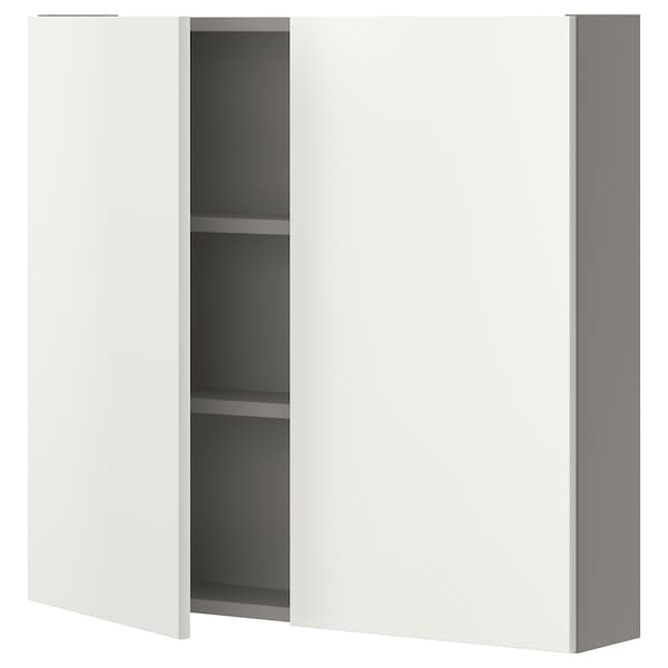ENHET خزانة حائط مع رفين/بابين, رمادي/أبيض, 80x17x75 سم