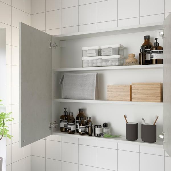 ENHET خزانة حائط مع رفين/بابين, أبيض/تأثيرات ماديّة., 80x17x75 سم