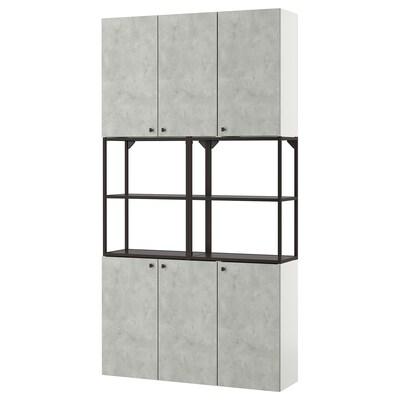 ENHET Wall storage combination, anthracite/concrete effect, 120x32x225 cm