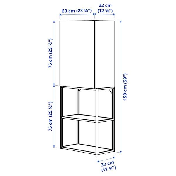 ENHET تشكيلة تخزين حائطية, فحمي/تأثيرات ماديّة., 60x32x150 سم