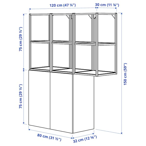 ENHET تشكيلة تخزين حائطية, فحمي/رمادي هيكل, 120x32x150 سم