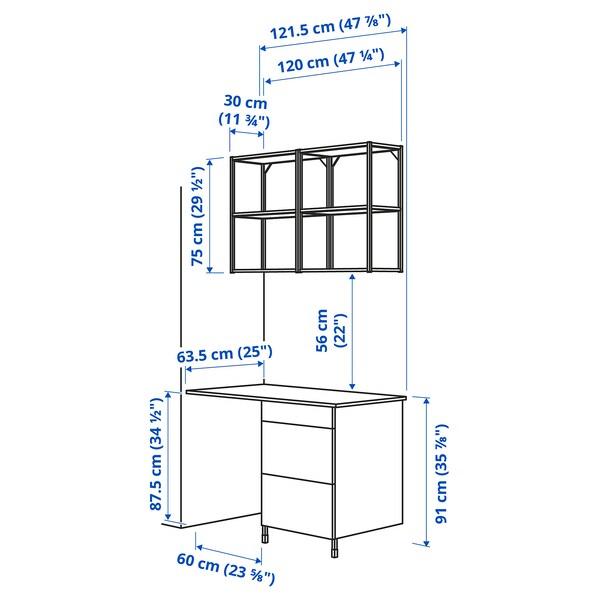 ENHET تشكيلة تخزين حائطية, فحمي/رمادي هيكل, 121.5x63.5x222 سم