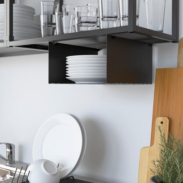ENHET تشكيلة تخزين حائطية, فحمي/أبيض, 121.5x63.5x222 سم
