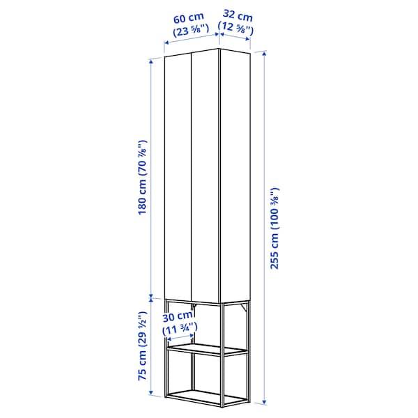 ENHET تشكيلة تخزين حائطية, أبيض/تأثيرات ماديّة., 60x32x255 سم