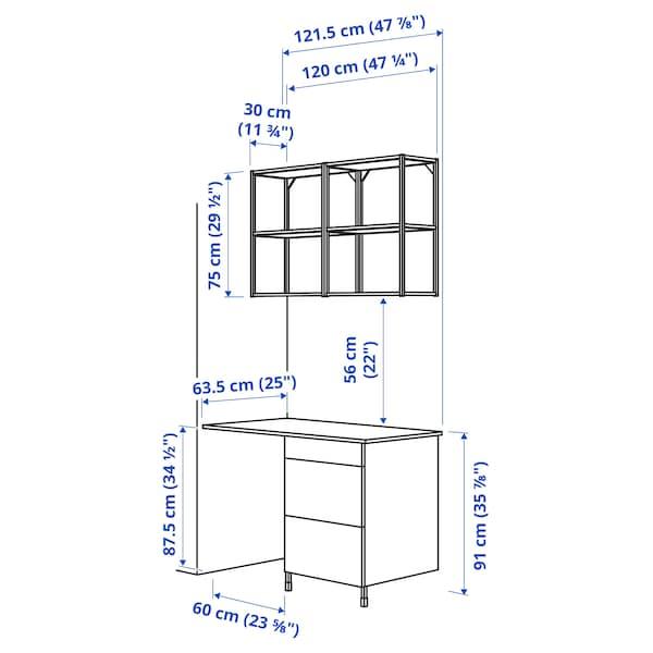 ENHET تشكيلة تخزين حائطية, أبيض/تأثيرات ماديّة., 121.5x63.5x222 سم