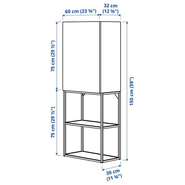 ENHET تشكيلة تخزين حائطية, أبيض/رمادي هيكل, 60x32x150 سم