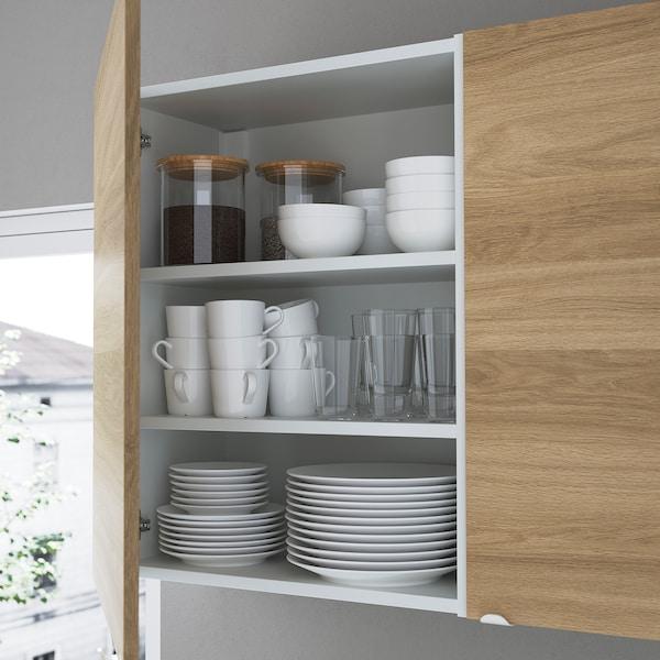 ENHET تشكيلة تخزين حائطية, أبيض/شكل السنديان, 80x32x150 سم