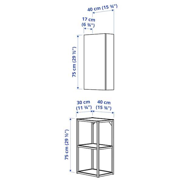ENHET تشكيلة تخزين حائطية, أبيض/شكل السنديان, 40x30x150 سم
