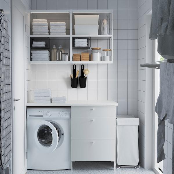 ENHET تشكيلة تخزين حائطية, أبيض, 121.5x63.5x222 سم