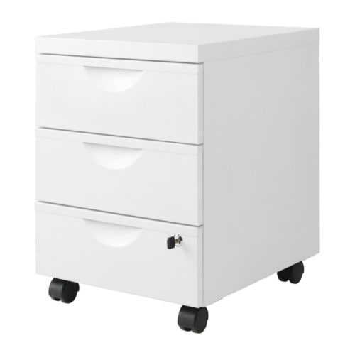 ERIK Drawer unit w 3 drawers on castors   Easy to move where it is needed thanks to castors.  The two lower drawers are lockable.