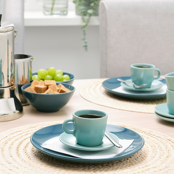 FÄRGKLAR Cup with saucer, matt light turquoise, 7 cl