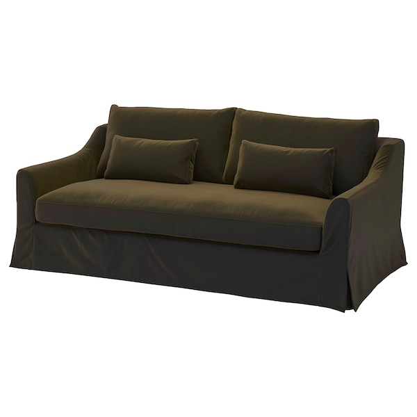 FÄRLÖV Cover for 3-seat sofa, Djuparp dark olive-green