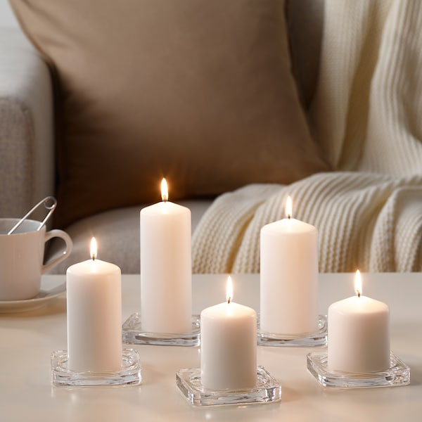 FENOMEN Unscented block candle, set of 5, white
