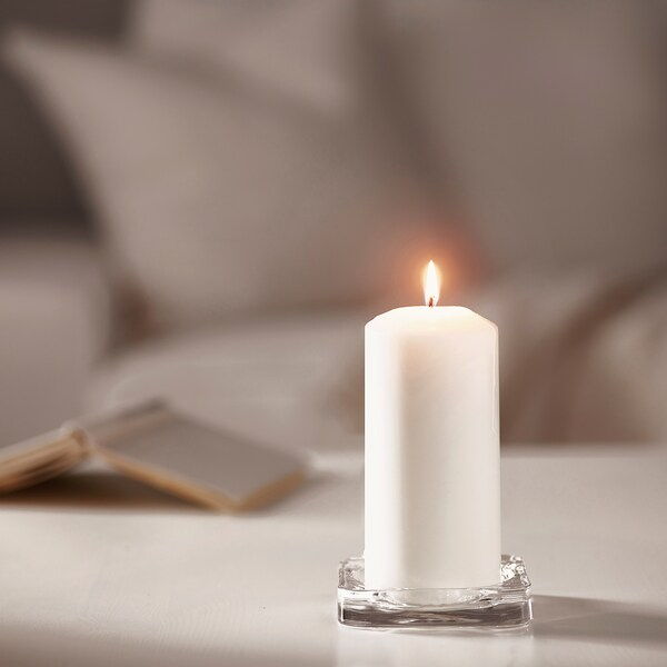 FENOMEN Unscented block candle, white, 15 cm