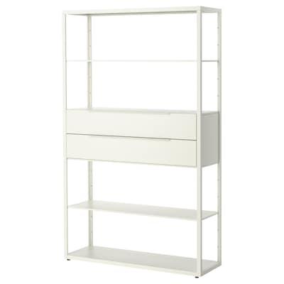 FJÄLKINGE Shelving unit with drawers, white, 118x35x193 cm