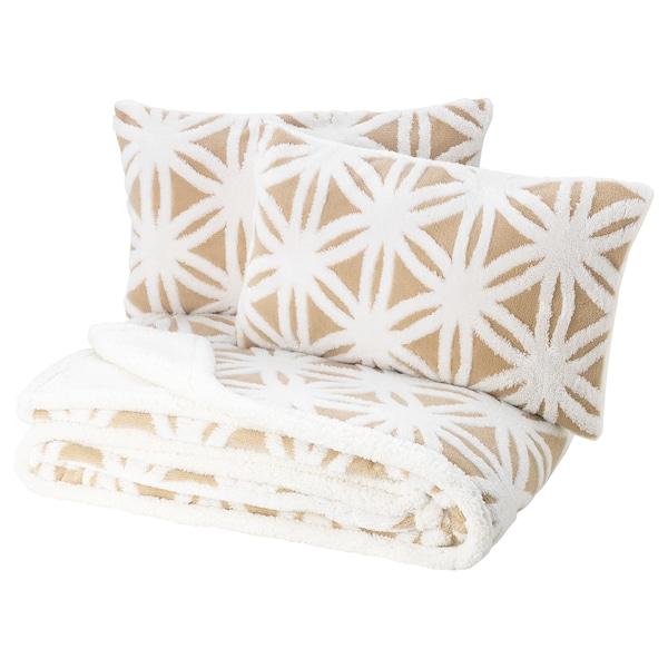 FJÄLLARV غطاء سرير وغطائي وسادة, أبيض/بيج, 230x250/40x65 سم