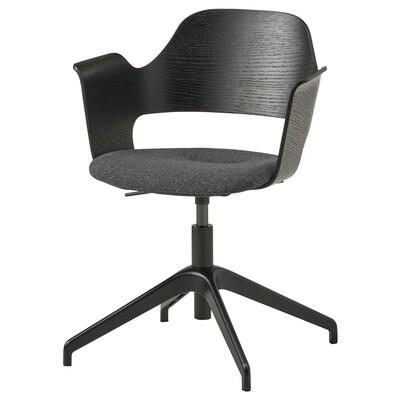 FJÄLLBERGET Conference chair, black stained ash veneer/Gunnared dark grey