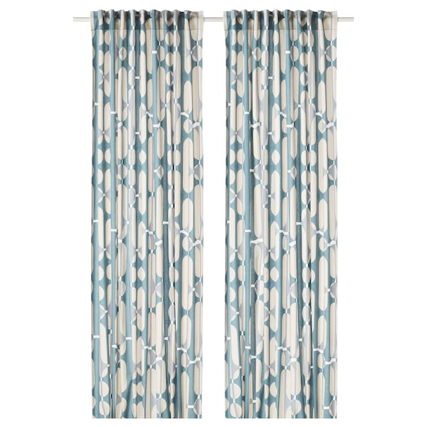 FJÄLLMÄTARE Curtains, 1 pair, beige/blue, 145x300 cm
