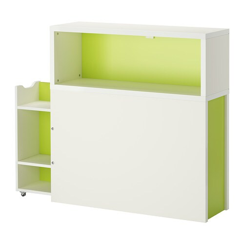 FLAXA Headboard with storage compartment   Headboard with open shelves and a hidden pull-out storage unit with castors.