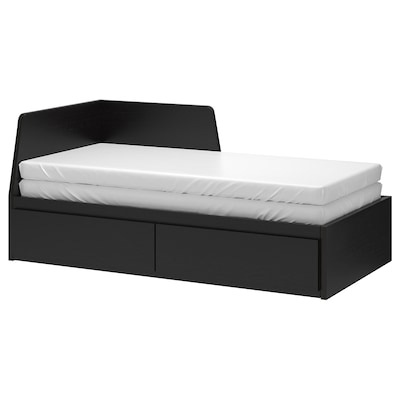 FLEKKE Day-bed frame with 2 drawers, black-brown, 80x200 cm
