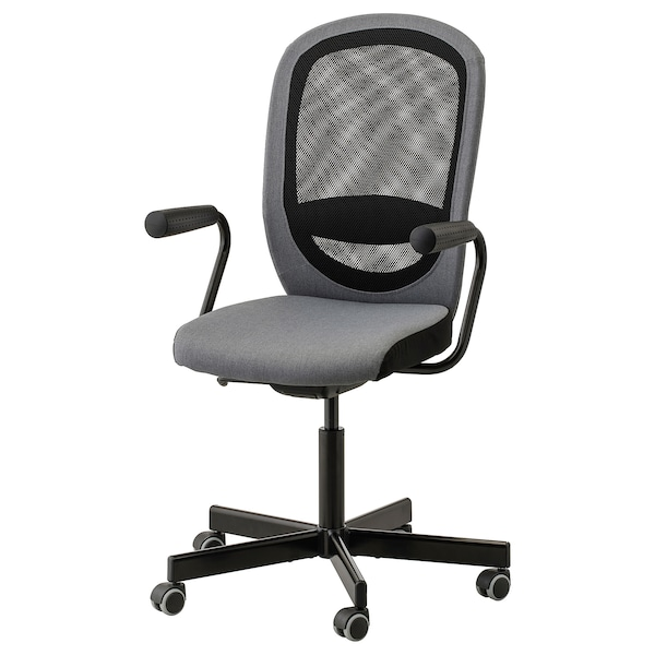 FLINTAN / NOMINELL Office chair with armrests, grey
