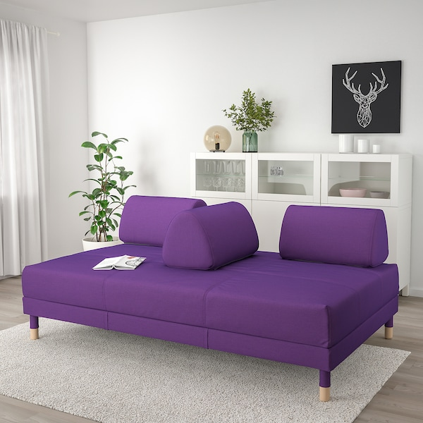 FLOTTEBO Sofa-bed, Vissle purple, 120 cm