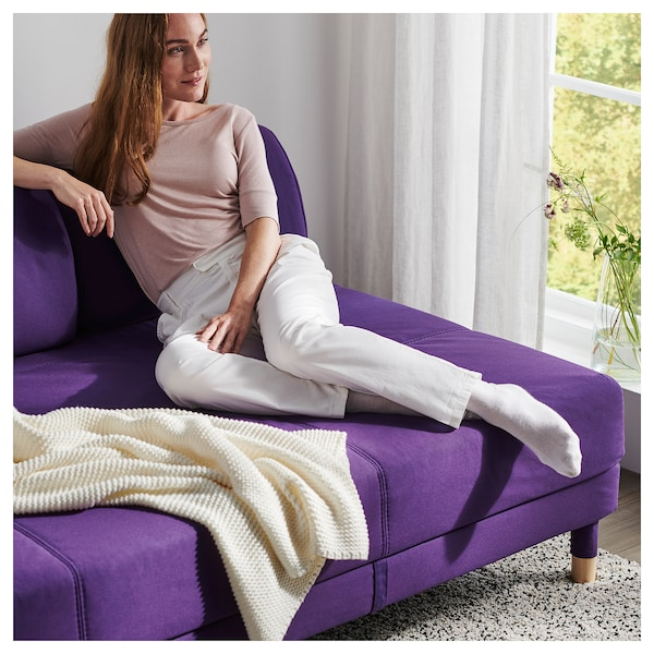 FLOTTEBO Sofa-bed with side table, Vissle purple, 120 cm