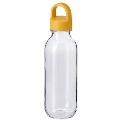 FORMSKÖN Water bottle, clear glass/yellow, 0.5 l