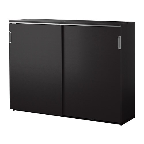GALANT Cabinet with sliding doors - black-brown - IKEA