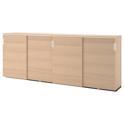 GALANT Storage combination w sliding doors, white stained oak veneer, 320x120 cm