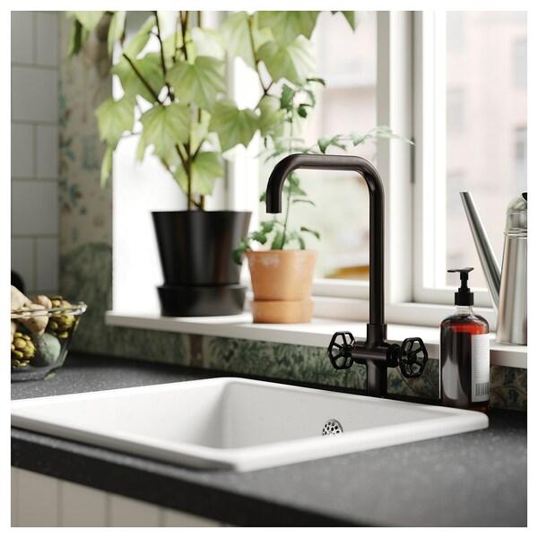 GAMLESJÖN خلاط ماء للمطبخ مع مقبضين, معدن أسود مصقول